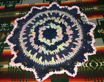 Pastel Rainbow w/ Navy Blue Handcrafted OOAK crochet mandala RagRug