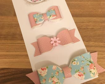 Floral pink and blue hair bows