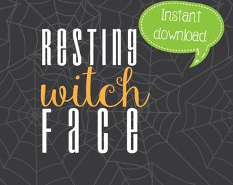 Resting Witch Face SVG, Halloween Clipart, Cricut Cut File, Silhouette File
