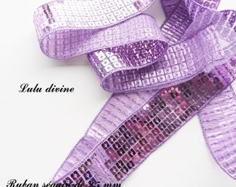 Ribbon / lace sequin glitter 25 mm, sold by 50 cm: Parma