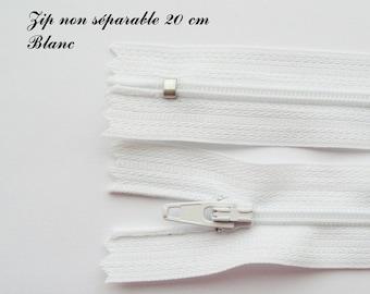 Simple not separable 20 cm zip 1: white