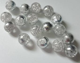 18 aged 10 mm silver beads
