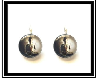 "Earrings ""Buddha between light & shadow"" zen Buddha, well, personalized thank you, gift, quotes"