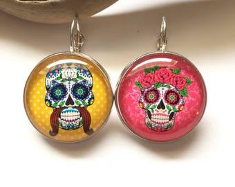 "Earrings original & unique ""Dia de los muertos"" heart, bow, black, gray dots calavera skull yellow polka dot"