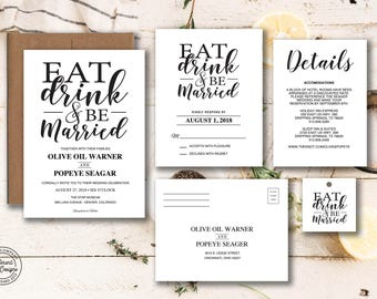 Eat Drink and Be Married Invitation Template Kraft Paper Modern Wedding Invitation Printable Wedding Invitation Template 4-Piece Suite