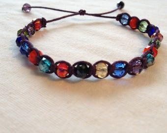 Crystal bead macrame Friendship Bracelet
