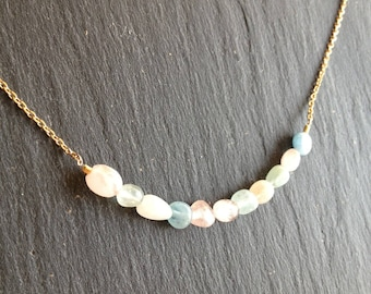 Necklace pastel stones fines