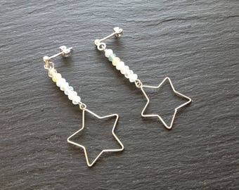 Star pastel morganite gemstones earrings