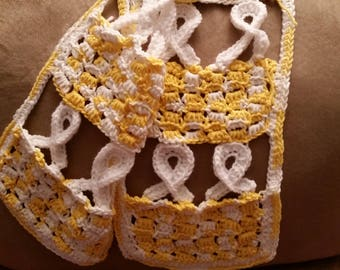 Angel-stitch Awareness Ribbon Crocheted Scarf