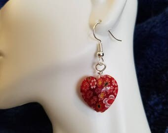 Red heart with flowers dangle earrings
