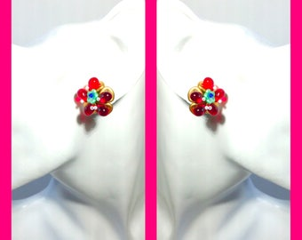 Fairy flower stud ear clip red Czech beads earrings