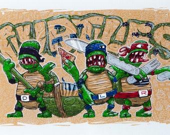 Ninja turtles screenprint / serigraphy tortus ninja