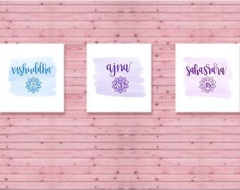 Chakra digital prints part 2 - Yoga- Namaste- Holostic Health- Alignment- Wall Art