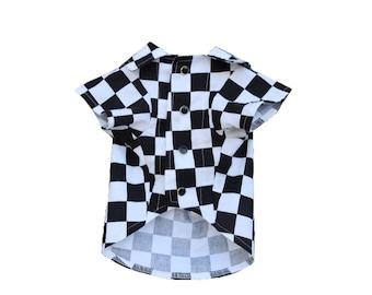 Dog Clothes Check Yourself Shirt | Dog Shirt | Dog Apparel | Dog Shirts for Dogs | Pet Clothing | Checkerboard Print