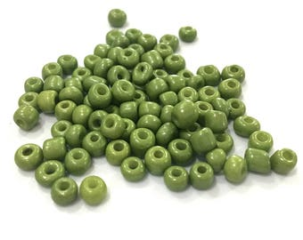 ♥ 10gr 4mm♥ green glass seed beads