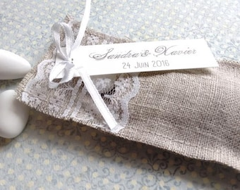 set of 10 linen and lace n 2 case - container for wedding favors.