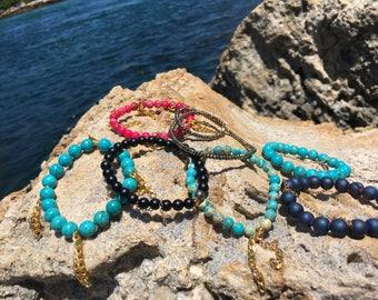 7 Authentic gemstone beaded bracelets