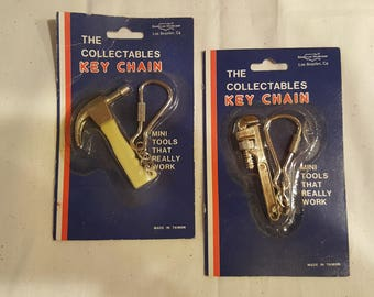 Vintage Miniature Hammer and Wrench Keychain New in Packages