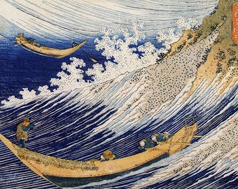 ORIGINAL SEMI RIGID PLACEMAT. Hokusai. In the ocean waves.