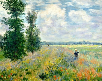 SEMI-rigid PLACEMAT, ORIGINAL design, WASHABLE and durable - Claude Monet - field of poppies at Argenteuil.