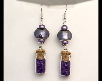 Vial earrings purple