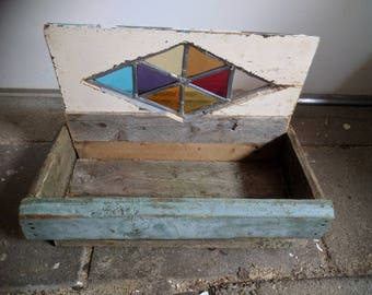 Wooden container with stained glass