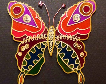 stained glass Butterfly with shrink plastic to decorate your pots of plants