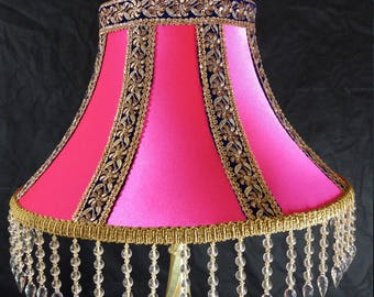 "22"" Indian Victorian style Bollywood Lampshade Standard Lampshade Handmade in Bradford UK"