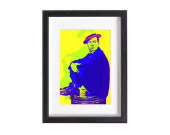 Pop art print of Buster Keaton | Funky pop art print poster 6x4 or 12x8 inches | Ready to be framed and matted | Free Shipping #6