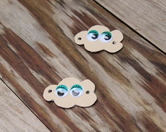 Decorative laces mini beige eyes cloud frosty green with eyelashes