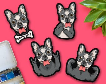 French Bulldog Portrait Pin, dog with middle finger. Portrait of a French bulldog with muscles and winth bone. puppy brooch
