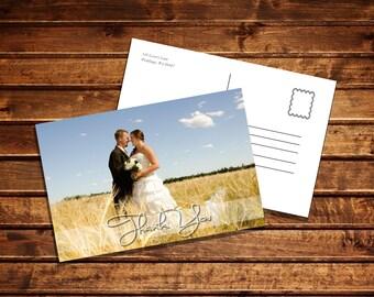 Customizable Wedding Photo Thank You Card digital download printable - postcard 4x6