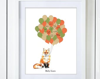 Gender Neutral Fox Baby Shower Guest Book Alternative Green Orange Beige