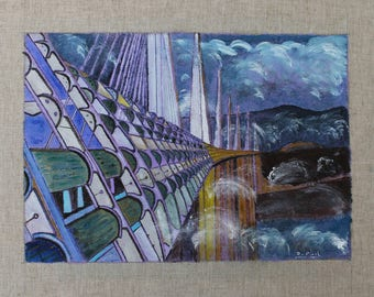 painting of the Millau Viaduct in the clouds