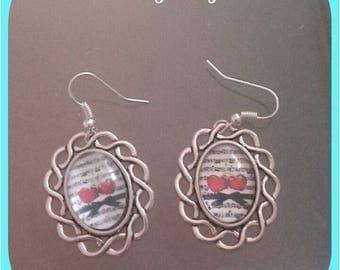 Silver Bow earrings retro