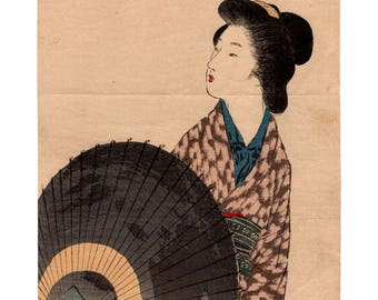 A lone voice (Takeuchi Keishu) N.1 kuchi-e woodblock print