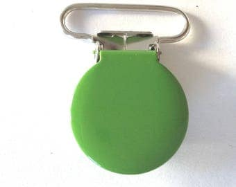1 round dark green metal pacifier clip