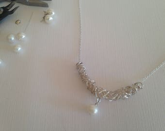 Sterling Silver and White Freshwater Pearl Necklace