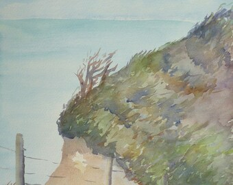 Summer cliffs original watercolor on Arches paper