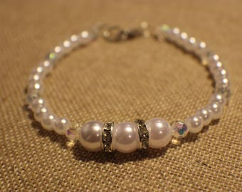Pearl and Clear Crystal Wedding Set