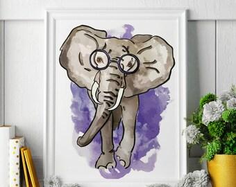 Elephant - Elephant Painting - Elephant Art - Elephant Painting - Elephant Print - Elephant Fine Art Print