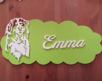 green door with customizable dog