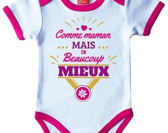 "Pink Bodysuit baby original humor ""like MOM but much better"""