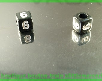 number 6 cube bead 7 mm black and white plastic