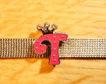 Pearl Crown width letter T fuchsia alphabet for bracelet