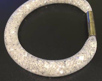 White FishNet tubular bracelet with clear glass rhinestones