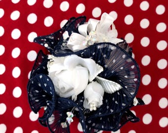 """Brooch """"The rite of spring"""" Shabby Chic and Navy Blue pleated organza with white dots"""