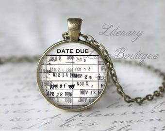 Date Due, Library Stamps, Library Books, Reading Necklace or Keyring, Keychain.