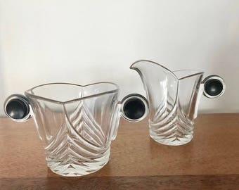 REDUCED* Vintage Heisey Art Deco Glass Creamer and Sugar Bowl Set