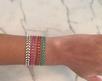 Enamel and Brass Chain Bracelets